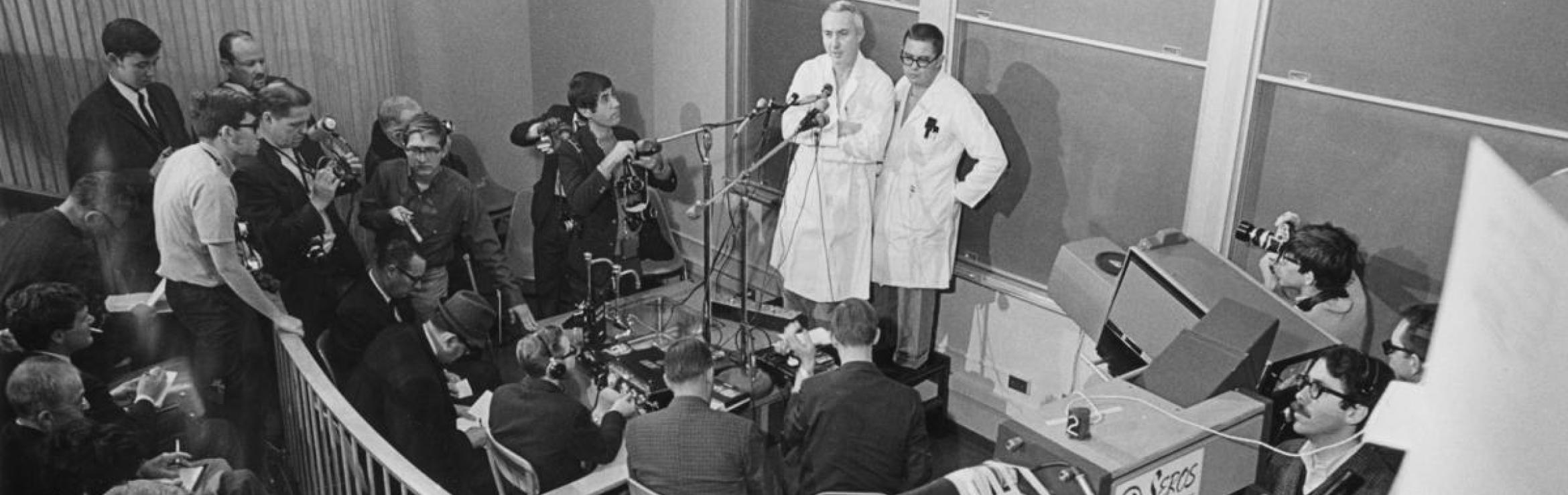 Norman Shumway and Ed Harrison spoke to the media after the first adult heart transplant in US, 1968
