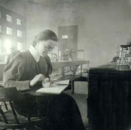 Lou Henry in lab at Stanford University 1895. Herbert Hoover Presidential Library, West Branch, Iowa.