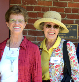 Photo of Karen Bartholomew (L) and Margaret McKinnon, Historic Houses book series editors