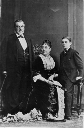 Photo of Leland, Jane and Leland Jr. at the Walery Studio in Paris c. 1881-1883.