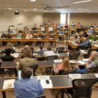 Photo of faculty senate meeting in 2018