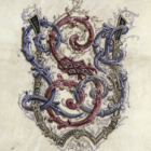 """The crest of the Founding Grant Society, which is composed of intertwined script letters """"LSJ"""" on top of a shield-like emblem"""